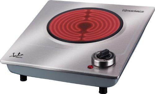 Jata V531 Cocina Eléctrica Vitrocerámica 1 Fuego con Una Placa de 18 cm Cuerpo de Acero Inoxidable Termostato Regulable de Temperatura 1200 W