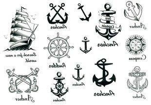 2012 spätestens neues Design neue Release Tattoo wasserdichte Anker nautischen Tattoo-Aufkleber