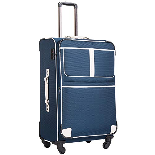 COOLIFE Expandable Suitcase with TSA Lock and 4 Spinner Wheels Lightweight 2 Year Warranty Durable (Lake Blue, L(79cm 102L))