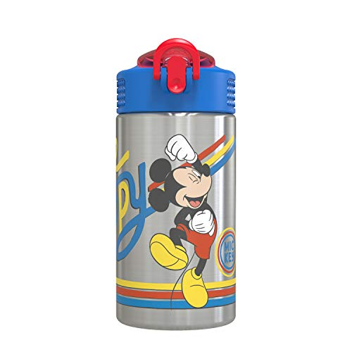 Zak Designs Disney 18/8 Stainless Steel Kids Water Bottle with Flip-up Straw Locking Spout Cover, Durable Cup for Sports or Travel (15.5oz, Mickey Mouse)