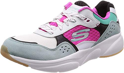 Skechers Meridian-Charted, Zapatillas Mujer, Multicolor (WMLT Gray & Navy Leather/Pink Mesh/Off White Trim), 39 EU