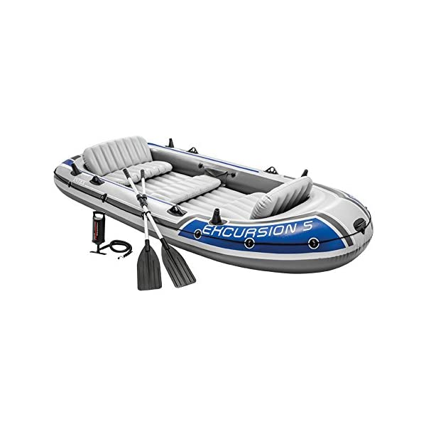 Intex Excursion Inflatable Boat Set with Aluminium Oars and Pump, 5 Person