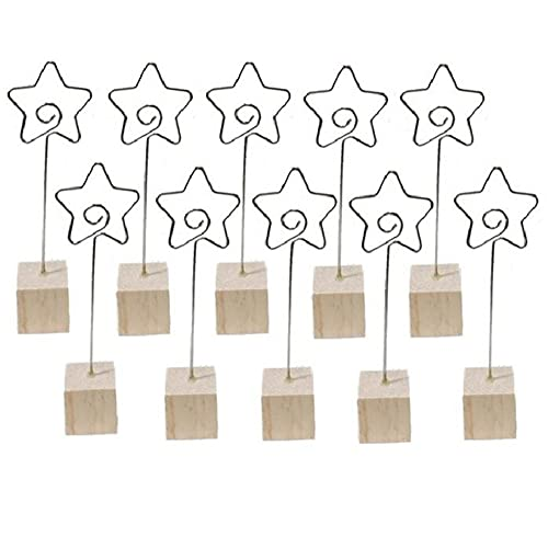 WANLIAN 10 Pack Christmas Party Decoration Card Star Holders Wooden Base Card Rustic Iron Wire Picks Clip Picture Memo Note Photo Clip for Wedding Office Christmas Table