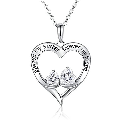 Herz Halskette Damen 925 Ketten | Schwester Silberkette Freunde Zwei Herzen Kette Silber Damen Ketten Schmuck Damen Geschenk für Frauen Mutter Weihnachten Geburstag mit Geschenkbox