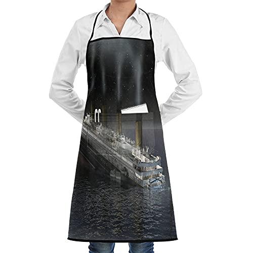 LOSNINA Delantal de cocina Impermeable y antiincrustante para hombres delantal de chef para mujeres restaurante de jardinería barbacoa cocinar hornear,El barco de los sueños Titanic