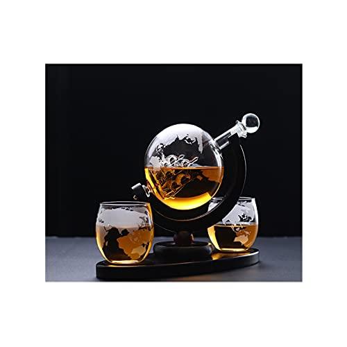 GYN Juego de decantador de Whisky Globe,850 Ml Botella de Vidrio Transparente con 4 Whiskey Vasos con Grabado Mundial Soporte y de Barco Antiguo para Decoración y Grandes Regalos