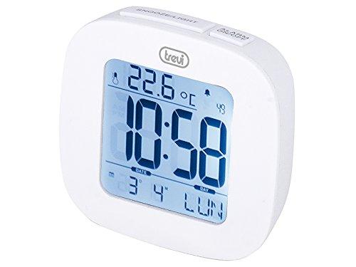 Trevi SLD 3860 Orologio con Display Retroilluminato, Termometro, Calendario Multilingue, Funzione Snooze, Bianco