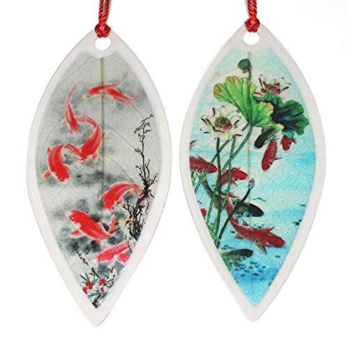 Lucore Koi Fish Leaf Bookmarks -Made of Real Leaves - 2 Pcs Lucky Charm, Ornament, Hanging & Wall...