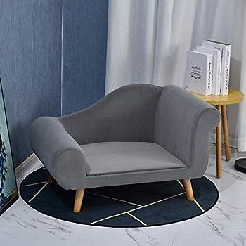 Pawhut Canapé Chien lit pour Chien méridienne Design scandinave Coussin Moelleux Pieds Bois Massif dim. 82 x 55 x 49 cm Velours Gris