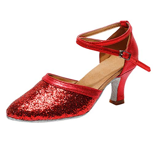 AIni Zapatos TacóN Alto Zapatos De Novia De TacóN Bajo Las Sandalias Zapatos De Baile Vals Zapatos De Baile Latino Zapatos De Fiesta De Las Mujeres Zapatos Puntiagudos Con Lentejuelas De Hebilla,35-41