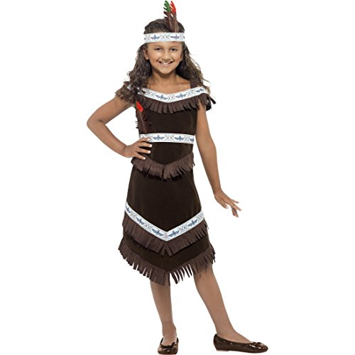 NET TOYS Déguisement Indienne Pocahontas Robe Squaw Costume d'enfant Indien Déguisement Fille Wild West Tenue Enfant Western Far West Costume de Carnaval 130-143 cm/8 Ans