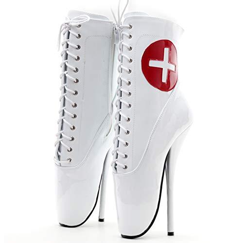 COSY-L Sexy Botines con Tacón para Mujeres, Zapatos de Tacones Finos Tacones Puntiagudos con Cremallera Lateral Usar Botines, Botas de Ballet Coqueteando SM para Uniforme Juego de Roles,Blanco,46 EU