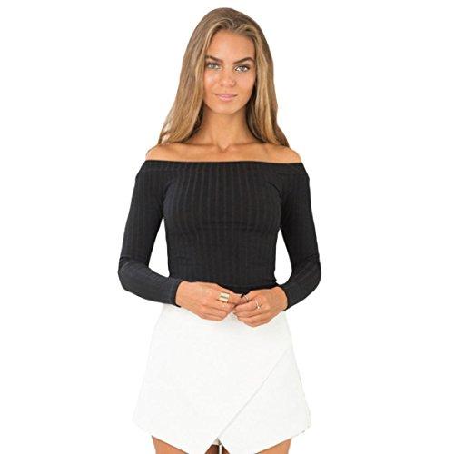 Kolylong® Sweatshirt Damen Frau Schlank Tops Schulterfrei Sweatshirt (M, Schwarz)