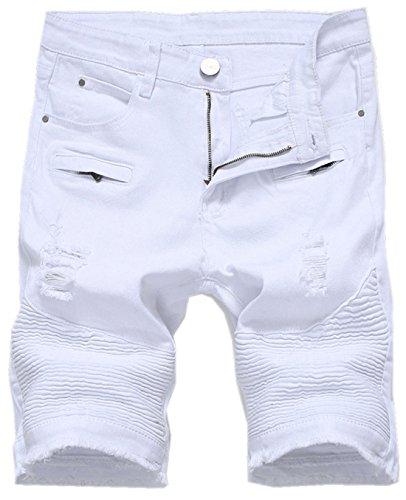 chouyatou Men's Cool Stylish Wrinkle Performance Slim Ripped Denim Shorts (34, White)