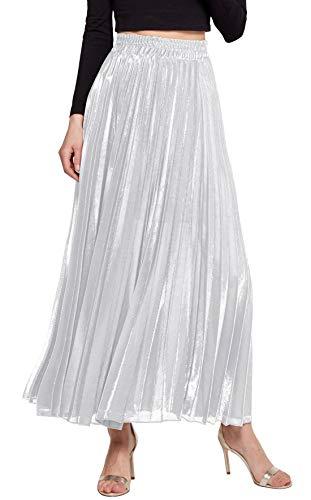 CHARTOU Women's Premium Metallic Shiny Shimmer Accordion Pleated Long Maxi Skirt (Small, White)