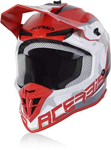 Acerbis Linear Casco Motocross Rosso/Bianco M (57/58)