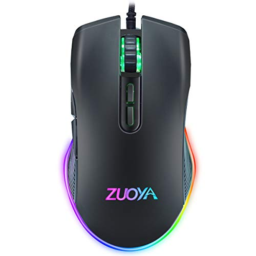 ZUOYA Wired Gaming Mouse RGB Backlit Computer Mice 3600 DPI Adjustable Ergonomic Optical Game Mouse 7 Buttons for Gamer Windows PC