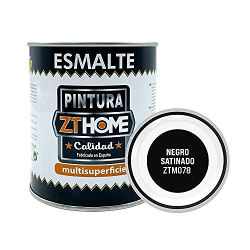 Pintura Negro Satinado Interior / Exterior / Multisuperfie para azulejos baño cocina , madera, puertas, metal, radiadores, muebles, ceramica / Esmalte sintentico en 375 ml