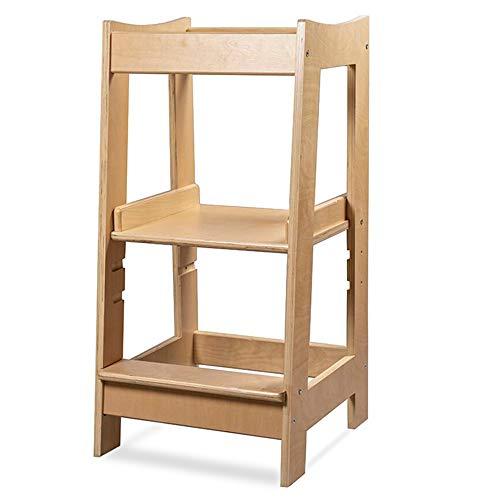 Montessori Lernturm für Kleinkinder, mit verstellbarer Höhe und Sicherheitsschiene, Massivholz