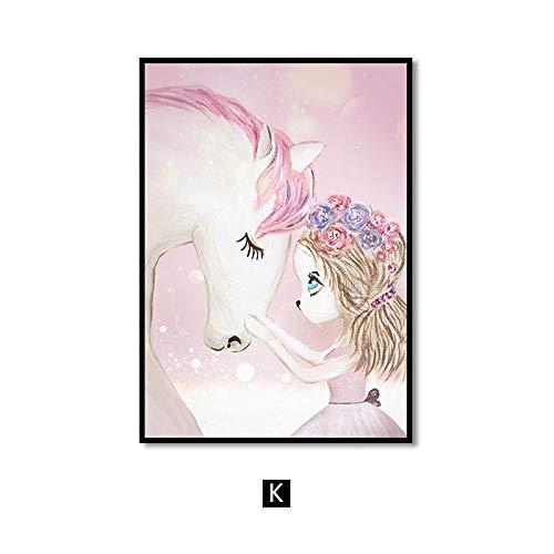 Roze kinderkamer meisjes bloem muurkunst canvas schilderij paard zwan Nordic poster en print wandafbeeldingen voor woonkamer kinderkamer 50x75cm
