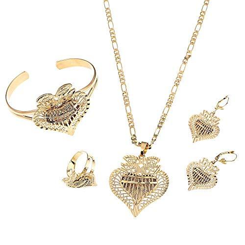 Conjuntos de joyas de corazón a la moda, collares etíopes, pendientes, brazalete de anillo, Color dorado, joyería de novia de boda árabe africana
