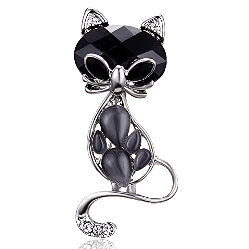 Fashion Black Cat Rhinestone Crystal Brooches for Women Zircon Cat Brooches Charm Animal Brooches Female-Gray