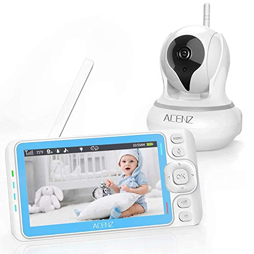 "Baby Monitor, ACENZ 720P 5"" HD Display Video Baby Monitor with Camera and Audio, Remote Pan & Tilt & Zoom, No Glow Night Vision, Two-Way Talk, Sound & Temperature Alert, 3000mAh Lithium Battery Monitors"