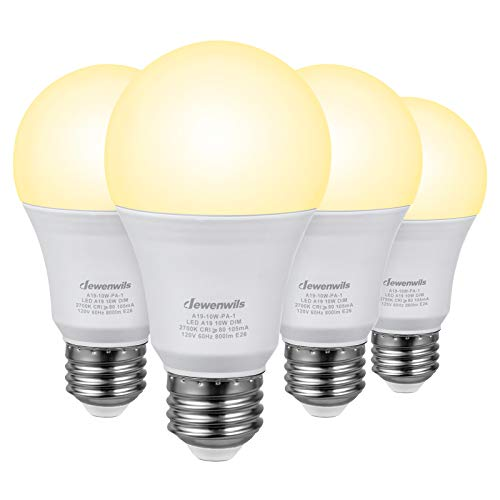 DEWENWILS 4-Pack Dimmable LED A19 Light Bulb, Soft White Light with Warm Glow, 800 Lumen, 2700K, 10W (60 Watt Equivalent), E26 Medium Screw Base, UL Listed