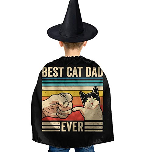 Best Cat Dad Ever Halloween Children's Costume Witch Cloak Cloak Robe and Hat Set Black