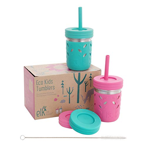 Elk and Friends Stainless Steel Cups | Mason Jar 10oz | Kids & Toddler Cups with Silicone Sleeves &...