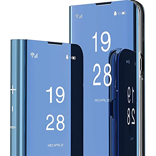 Lisuee Funda para Xiaomi Mi 8 Lite Clear View Flip Folio Estilo de Libro Espejo Cover Carcasa Soporte Plegable Case de Teléfono para Xiaomi Mi 8 Lite Mirror Azul