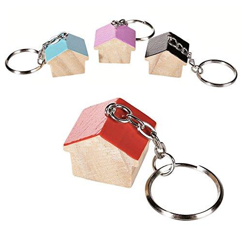 OOTB Un Porte-clés Petite Maison en Bois Brut - Vendu à l'unité - Couleur aléatoire - Porte Clef Authentique, idéal hôtel, gîte...