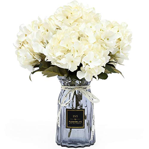 UltraOutlet 4 Packs White Silk Hydrangea Flowers with Vase 24 Heads Artificial Hydrangea Flowers Bouquets Arrangement Centerpiece for Weddings, Birthday Parties, Home and Office Decorations