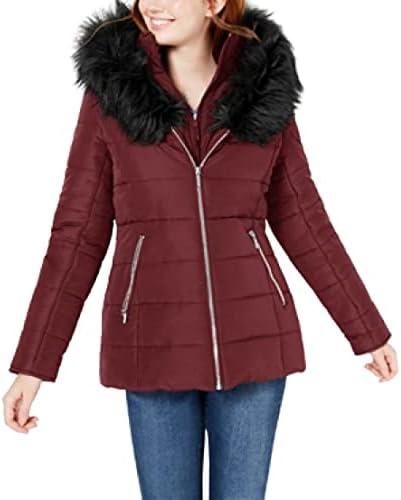 Maralyn & Me Juniors' Hooded Faux-Fur-Trim Puffer Coat - Zinfandel- Size S