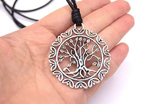 ETHNICFEATHER - ETHNICFEATHER-TREE LIFE Anhänger Halskette, verstellbare Kordel, silberner Metallanhänger