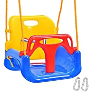 Emwel High Backed Toddler Swing, 3-in-1 Infants Baby Toddler Children Teens Plastic Safety Swing Sea...