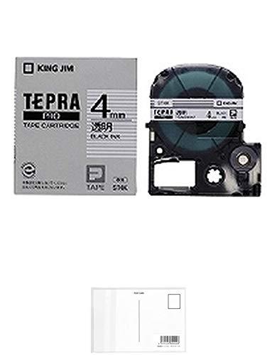 キングジム テープカートリッジ テプラPRO 4mm ST4K 透明 【× 2 個 】 + 画材屋ドットコム ポストカードA