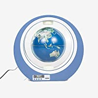 LEDライト付き浮揚グローブ、世界地図発光磁気浮上フローティンググローブ、教育用ギフト用回転3Dステレオクロックフローティンググローブ,ブルー,4 inch