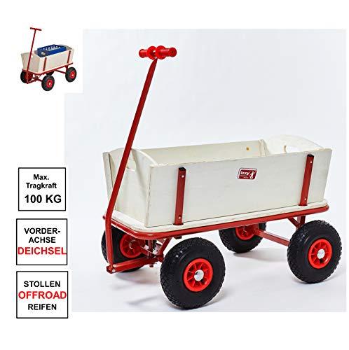 Izzy Bollerwagen Holz Luftreifen 100kg für alle Gelände geeignet (Bollerwagen mit pannensicheren PU-Reifen)