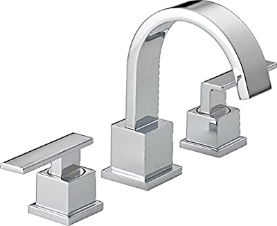 Delta Faucet Vero Widespread Bathroom Faucet Chrome, Bathroom Faucet 3 Hole, Bathroom Sink Faucet, Metal Drain Assembly, Chrome 3553LF