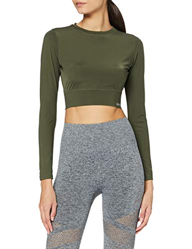 Superdry Damen Training Crop Ls Tee T-Shirt, Army Khaki, 36