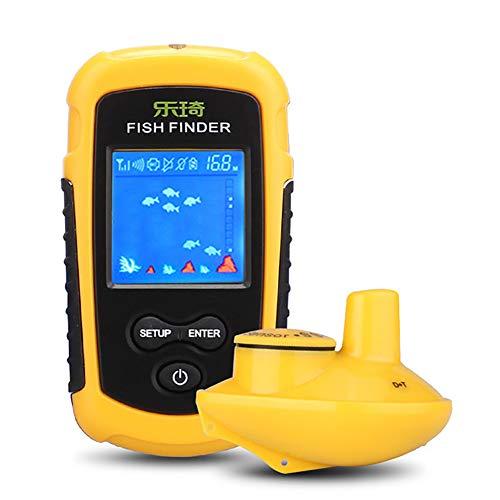 WYYHAA Buscador de Peces, Sonar portátil a Prueba de Agua de 100 Metros Sonar inalámbrico con Pantalla de Cristal líquido Buscador de Peces, Sensor Echo Sounder Puede Alarmar, Precisión hasta 0.1M