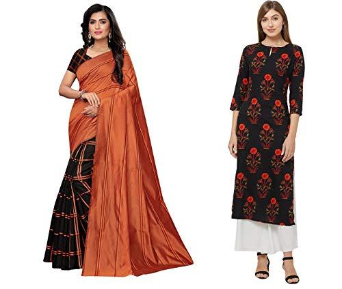 ANNI DESIGNER Women's MulticolorPrinted Saree and Printed Kurti (KRITI-SK (3)_M)