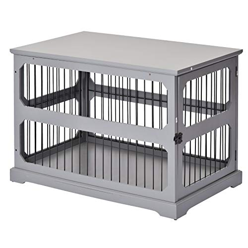 PawHut Decorative Dog Cage/Crate Kennel with Strong Construction Materials & a Classic Americana Style, Grey Categories Dining Features Kitchen