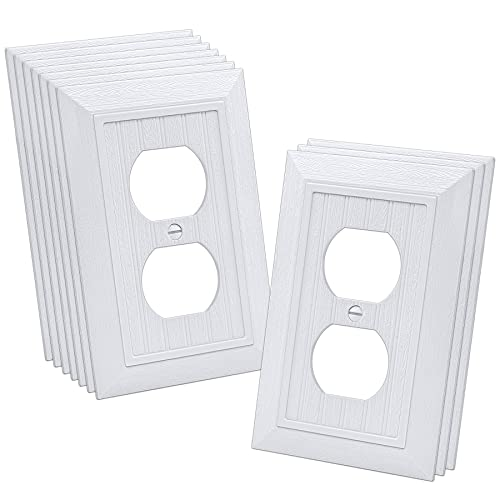 """CML Classic Duplex Wall Plate, 1-Gang Vintage Outlet Covers, 10 Pack Retro Wood Grain Design White Switch Plates, Standard Size 3.15""""X 4.87"""", Impact Resistant"""
