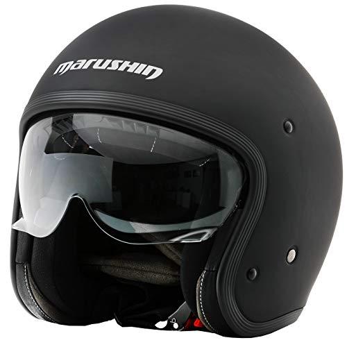 Marushin C-149 Motorrad Helm Jethelm Premium Line Halbschalenhelm, M, Mattblack
