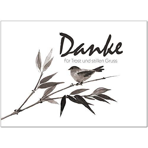 15 x Trauer Danksagungskarten mit Umschlag DIN A6, Motiv Aquarell Look schwarz weisser Vogel, Danke Sagen nach Beerdigung