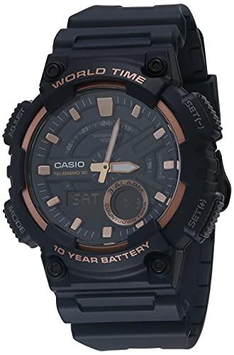 Casio Correa de resina de cuarzo para 10 años, color negro, reloj casual 28.4 (modelo: AEQ-110W-2A3VCF)