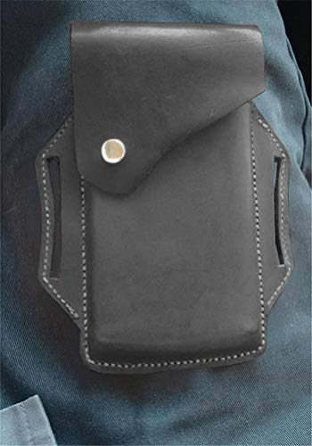 Gürtel Münztasche Mittelalterliche Hüfttasche Wikinger Gürtel Tasche PU Leder Gürtel Tasche Purs Handy Holster für Männer und Frauen (Schwarz)