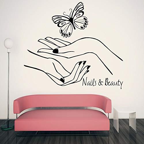 Beauty salon muur sticker nagelkamer decoratie vinyl muursticker manicure meisje hand muurschildering